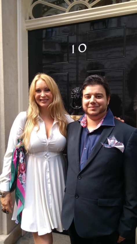 Aran Mathai of Boycott Dogs4us and Victoria Pearce of K9 Angels at 10 Downing Street